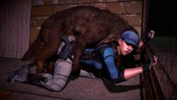 anal animated bent_over brown_hair canine clothed doggy_style garry's_mod gloves gmod gun hat interspecies jill_valentine knife mammal mounted noname55 outside penis ponytail resident_evil sex sideboob weapon zoophilia