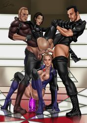 2boys 2girls alice_(resident_evil) anal big_breasts blonde_hair breasts_outside capcom dildo double_penetration foursome group_sex jill_valentine milla_jovovich open_clothes pussy resident_evil resident_evil_(movie) sex shooterm standing torn_clothes