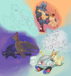 2014 aggron ambiguous_gender anal argon_vile barefoot blue_eyes blush closed_eyes dialog digimon dragon druddigon duo english_text erection feral from_behind fur how_to_train_your_dragon interspecies legendary_pokémon licking long_ears looking_back lucario magnet magnezone male mega_aggron mega_evolution mega_lucario nintendo nude open_mouth oral penis pokemon red_eyes rimming screw size_difference squint standing sweat text tongue tongue_out toothless veemon victini video_games wings
