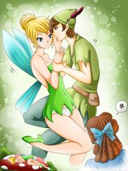 1boy 2girls breasts cleavage dreaming panties peter_pan shadako26 tinker_bell wendy_darling white_panties