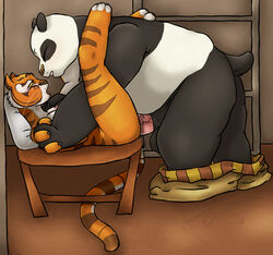 anthro balls bear blush breasts feline female fur furry kamikitty kung_fu_panda male mammal master_tigress panda panda_bear penetration penis po sex tiger uncensored