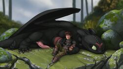 dragon duo erection face_paint gay hiccup_(httyd) how_to_train_your_dragon human lando male mammal night_fury outside penis size_difference tapering_penis toothless uncensored wings