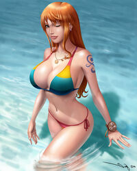 2014 bikini bracelet breasts brown_eyes cleavage earrings female iury_padilha large_breasts long_hair looking_at_viewer nami navel necklace one_piece one_piece_film_z orange_hair parted_lips solo swimsuit tattoo wading water wink