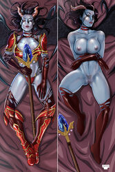armor breasts choker dakimakura dota_2 facial_mark female gloves grey_skin horns long_hair looking_at_viewer lying nipples on_back parted_lips pubic_hair pussy pussy_juice queen_of_pain red_eyes solo staff thighhighs tinkerbomb weapon wings