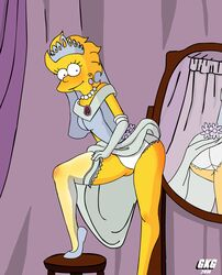 aged_up female female_only gkg human lisa_simpson mirror panties skirt_lift solo stockings the_simpsons wedding_dress white_panties