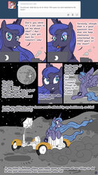 2014 alicorn anus blue_eyes blue_fur blue_hair blush comic cutie_mark english_text equine female feral friendship_is_magic fur hair horn ihavnoname long_hair looking_at_viewer mammal masturbation moon my_little_pony open_mouth princess_luna_(mlp) pussy_juice smile solo text tumblr vehicle wet wings