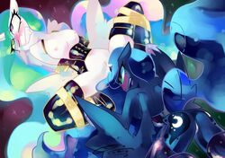 2012 alicorn ass blue_fur blush bondage breasts cutie_mark female horn lying multi-colored_hair nipples on_back open_mouth princess_celestia_(mlp) princess_luna_(mlp) pussy pussy_juice spread_legs thighhighs uncensored vaginal vaginal_penetration wings yuri