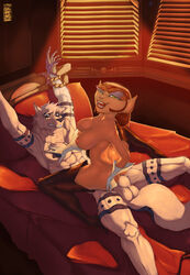 abs anthro balls blue_eyes boots bound breasts cabin canine captain_amelia cowgirl feline female female_on_top gloves green_eyes kumbhker male mammal muscles on_top rope sheath smile straight styx_(jelomaus) teeth treasure_planet