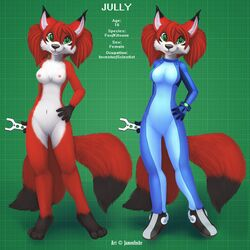 2014 anthro blue_eyes breasts canine clothing female fox fur hair happy jamesfoxbr jumpsuit looking_at_viewer mammal multiple_tails nipples nude open_mouth plain_background pussy red_fur smile solo standing teeth tongue tool young