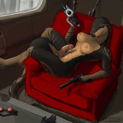2014 anthro balls breasts chair city digitigrade erection eyewear gloves goggles gun humanoid_penis inside intersex looking_at_viewer nipples nude penis pistol ranged_weapon reptile rifle scalie sci-fi sitting smile snake sniper_rifle solo tokaido weapon
