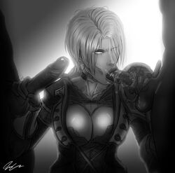 :>= armor bra_slip breasts choker claw cleavage cleavage_cutout clothed_female_nude_male coat corset double_handjob earrings elbow_gloves fellatio female gloves greyscale hair_over_one_eye handjob highres huge_breasts isabella_valentine jesus_avalos jewelry lips looking_at_viewer monochrome namco nose oral penis pinky_out pubic_hair puffy_sleeves saliva short_hair solo_focus soul_calibur soulcalibur_v testicles threesome uncensored