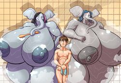 2014 anthro areola big_breasts breasts elephant erect_nipples female huge_breasts human hyper hyper_breasts jaeh male mammal nipples shower size_difference