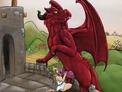 brown_hair castle clothed clothed_sex clothing cum cum_on_face dragon duo elf erection female grass hair handjob horn knot licking lizardlars male mammal outside penis red_scales royalty sex size_difference size_play straight teeth tongue tongue_out tower uncensored wings