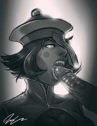 blush_stickers fangs fellatio female greyscale hat highres jesus_avalos jiangshi lei_lei monochrome nose ofuda one_eye_covered oral penis scary_sex short_hair tongue uncensored vampire_(game)