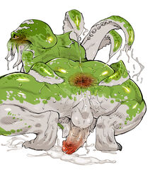 2014 anthro anus ass balls blush cephalopod crouching cum green_body green_skin male masturbation nude penis plain_background solo spread_anus spread_butt spreading squid suction_cup tentacle toto_(artist) wet white_background