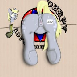 anus blonde_hair bound clitoris derpy_hooves female friendship_is_magic from_back hair my_little_pony pussy solo