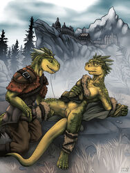 2014 after_sex anthro argonian armor bottomless clothed clothing cunnilingus dripping female grass half-dressed hi_res lizardlars male oral oral_sex orgasm outside pussy pussy_juice rocks scales scalie sex smile straight the_elder_scrolls the_elder_scrolls_v:_skyrim tree vaginal_penetration video_games
