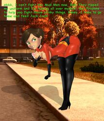 ass big_ass big_breasts breasts brown_hair green_eyes helen_parr lactation lactation milf nippes solo the_incredibles