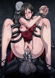 ada_wong areolae black_eyes black_hair blush breasts censored cum cum_in_pussy dress eroquis feet female high_heels highres large_breasts legs looking_at_viewer naughty_face nipples penis pussy resident_evil resident_evil_4 sex short_hair smile standing sweat thighs tied_up torn_clothes vaginal_penetration zombie