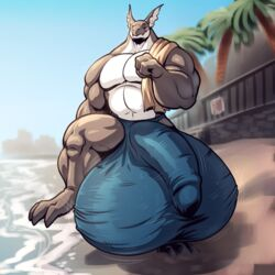 2014 anthro balls beach big_balls big_muscles bulge camel_tail clothing dragon hyper hyper_balls hyper_penis male muscles neodokuro pecs penis rook_ seaside solo