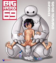2014 anal areola baymax big_hero_6 black_hair blush breasts brown_eyes cum cum_drip cum_in_ass cum_pool destijl english_text eyeshadow feet gogo_tomago half_closed_eyes large_penis legs_spread looking_down lube makeup marvel nailpolish nipples nude open_mouth purple_hair pussy robot size_difference small_breasts spread_pussy sweat text two-tone_hair