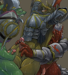 anthro armor cum cum_on_penis dragon drooling flaccid gay green_skin hair horn humanoid_penis imminent_rape male masturbation muscles open_mouth penis red_scales saliva scalie slit_pupils sweat uncut xigma6000 yellow_eyes yellow_skin