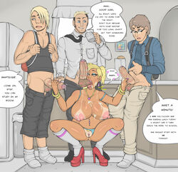 3boys after_sex areola breasts contingency cum cum_drip cum_on_breasts cum_on_face cumshot daughter double_handjob erect_nipples erection fat_mons father_and_daughter female foreskin handjob huge_cock large_penis looking_away male nipples penis pussy son squatting tan_skin tanlines testicles vagina wet