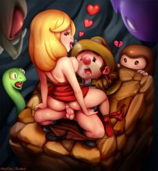 1boy anus ass bare_shoulders blonde_hair breasts broken_heart cowgirl_position cowgirl_position dress female happy_sex hat heart heavy_breathing large_breasts monster neocoill nipples one_eye_closed open_mouth panties panties_around_leg penis red_nose sex spelunky straddling straight strapless_dress testicles uncensored underwear vaginal_penetration