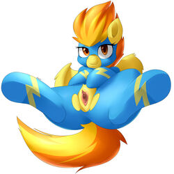2014 absurd_res derpah equine female feral friendship_is_magic fur hair hi_res looking_at_viewer mammal my_little_pony orange_hair pegasus plain_background presenting pussy smile solo spitfire_(mlp) spitire spread_legs spreading two_tone_hair white_background wings wonderbolts_(mlp) yellow_fur