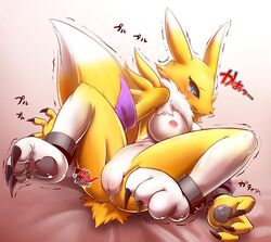 2014 anthro anus areola bandai black_sclera blue_eyes breasts canine chest_tuft claws cuffs digimon erect_nipples female fingerless_gloves fox fur gloves heart japanese_text kikunyi mammal mane markings navel nipples open_mouth pawpads paws plain_background plump_labia presenting presenting_pussy pussy renamon shaking slit_pupils solo spread_legs spreading sweat tears text tuft white_fur yellow_fur