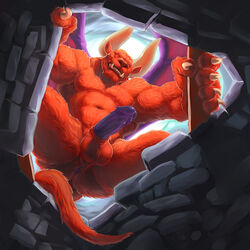 alpha0 anus ass balls berserk biceps demon erection horn humanoid_penis looking_at_viewer male muscles nude penis precum solo solo_male wings zodd