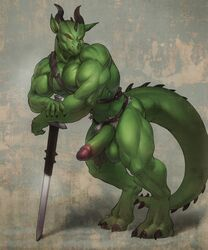 1boy 2014 abs anthro arm_support balls beefcake belt biceps big_balls big_muscles big_penis claws clothing darkgem digitigrade dragon erection fangs green_dragon horn humanoid_penis leaning leaning_forward loincloth looking_at_viewer male muscles pecs penis quads red_eyes scalie slit_pupils smile solo straps sword thick_tail tribal varanis_blackclaw vein weapon western_art