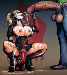batman_(series) blonde_hair boots breasts cum cum_on_breasts cum_on_clothes cum_on_floor cum_on_hair dc dc_comics devil_hs dildo dress earrings facepaint facial female fingerless_gloves fishnet gloves green_eyes handjob harley_quinn large_breasts male nipples penis pussy sex_toy smile squatting twintails vaginal_insertion