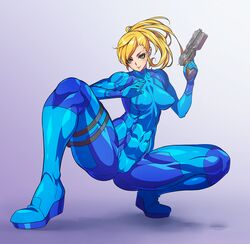 blonde_hair bodysuit breasts cameltoe city7 erect_nipples female female gun looking_at_viewer metroid nintendo samus_aran skin_tight solo squatting weapon zero_suit