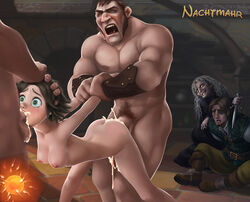 arm_hold ass black_hair blue_eyes breasts cum cum_in_mouth cum_in_pussy cum_inside disney excessive_cum fellatio female flynn_rider forced_to_watch from_behind head_hold impregnation irrumatio male mother_gothel mouthful nachtmahr nipples nude oral rape rapunzel sex short_hair spitroast stabbington_brothers tangled tears threesome vaginal_penetration virgin witch