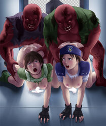 2girls all_fours areolae arm_grab ass blue_eyes blush boots breast_squeeze breasts brown_hair censored cum cum_in_pussy cum_on_ass deep_rising doggy_style fingerless_gloves hanging_breasts highres jill_valentine large_breasts legs multiple_girls nipples no_bra no_panties open_mouth orgy penis police_uniform rape rebecca_chambers resident_evil short_hair tears thighs torn_clothes uniform zombie