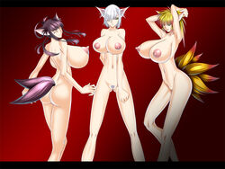 3girls animal_ears ass bangs bare_shoulders breasts gigantic_breasts huge_breasts large_breasts legwear long_hair monster_girl multiple_girls navel nipples original ponytail pubic_hair puffy_nipples pussy short_hair smile tail takashimashou thighhighs uncensored yellow_eyes