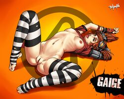 big_breasts borderlands borderlands_2 breasts feet gaige gaige_(borderlands) green_eyes lipstick nipples pussy radprofile red_hair solo twintails