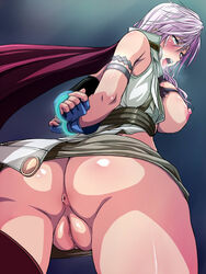 anus armband ass blue_eyes bound_wrists breasts cape dat_ass eclair_farron fat_mons female final_fantasy final_fantasy_xiii from_behind gloves highres humiliation large_breasts nipples no_panties open_clothes open_shirt pink_hair saliva shiny shiny_skin simple_background tears tongue tongue_out uncensored