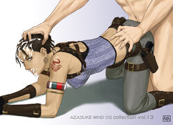 all_fours ass azasuke back black_hair breasts brown_eyes capcom clothed_female_nude_male crop_top cum cum_in_mouth cum_on_hair dark-skinned_female dark_skin doggy_style earrings facial fanny_pack female gun hand_on_head highres holster human interracial large_breasts legs looking_back male pants ponytail resident_evil resident_evil_5 sex sheva_alomar simple_background straight sweat tattoo thighs weapon
