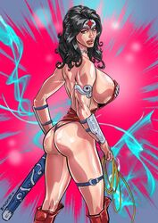 armlet ass black_hair blue_eyes boots collar dc gauntlets gush-bomb-comix huge_breasts lasso long_hair looking_back rope sheath sideboob simple_background solo standing sword thigh_strap thong tiara weapon wonder_woman