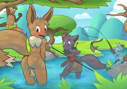 ! ? anthro anthrofied armpits ass assisted_exposure athletic balls blush canine chespin clothing covering covering_self dewott eevee embarrassed erection fishing flaccid fox holding_object loincloth male mammal melee_weapon navel nintendo nude outside partially_submerged penis perineum pokemon polearm raised_tail redhixen river rodent side_view sitting spear stare surprise sweat sweatdrop tree video_games wardrobe_malfunction weapon zorua