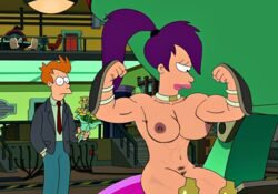 abs areola bangs boots breasts clitoris cmnf dark_areola edit erect_clitoris erect_nipples female flex futurama lips male medium_breasts muscle_tone muscular_female mutant naked nude one_eye perky_breasts philip_j_fry ponytail pubic_hair puffy_areola purple_hair ragetheripper sitting thick_thighs thighs turanga_leela wide_eyed