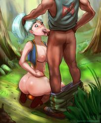 aqua_hair ass blue_eyes blush bottomless breasts bulma_briefs cum cum_in_mouth cum_inside dark-skinned_male dark_skin dragon_ball fellatio female hair_grab human interracial kadavre kneeling long_hair male nature nipples oral outdoors penis_grab red_ribbon_army solo_focus straight vest