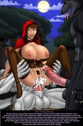 anal anal_sex anthro areolae big_bad_wolf big_breasts big_penis breasts brown_hair corset cum cum_on_lower_body deuce female female_pubic_hair gangbang green_eyes group_sex hair happy hood huge_balls huge_breasts huge_cock human interspecies legs_up legwear little_red_riding_hood multiple_penises night nipples penis pubic_hair reverse_cowgirl reverse_cowgirl_position sex spread_legs story testicles thighhighs thighs threesome tight_fit uncensored vagina veiny_penis
