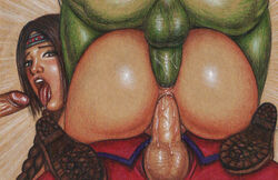 3boys anal anal_sex ass big_ass big_balls big_penis blanka boots braided_ponytail braided_twintails braids brown_boots brown_eyes brown_hair capcom cowgirl_position dat_ass double_penetration edithemad endured_face female foursome gangbang green_penis green_skin group_sex julia_chang m_bison multiple_penises naked namco nude open_mouth orgy penis pussy_juice sex street_fighter street_fighter_x_tekken tekken testicles thick_penis tongue vaginal_penetration vaginal_sex veiny_penis