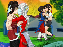 chichi dragon_ball_online dragon_ball_xenoverse dragon_ball_z female female_only gine human kissing multiple_females titflaviy towa videl yuri