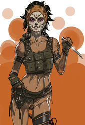 black_hair brown_eyes catrina_posada command_and_conquer dark-skinned_female dark_skin ea earrings female female_only fingerless_gloves ganassa headband horns human knife long_hair makeup navel pinup pose pubic_hair pussy satchel simple_background skull solo standing tattoo thigh_strap torn_clothes tribal weapon