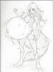 adventure_time areola belly big_belly big_breasts boots breasts clothing fangs female hair huge_breasts humanoid hyper hyper_belly long_hair marceline navel nipples open_mouth pointy_ears pregnant solo torn_clothing vampire