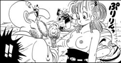 1girl 3boys bare_shoulders breasts bulma_briefs female human krillin male master_roshi monochrome nipples nosebleed topless yamcha